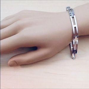 "Sterling silver men's bracelet 8.5"""